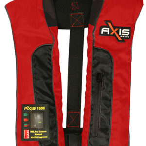 "AXIS INFLATABLE PFD - ""OFFSHORE PRO 150 MK2"" - MANUAL The AXIS OFFSHORE PRO 150 MK2 is the first of our new adult PFD's designed for the active boater who wants maximum comfort ● Designed to suit all adults ● Velcro closure ● Handy front utility pocket ● New compact 3D ergonomic design with a soft neoprene collar for fit and comfort ● UML Pro-Sensor operating system with window for visual of arming status indicator ● 150 Newtons of buoyancy ● Reflective piping for night time visibility ● D Buckle fitted at back so optional crutch strap can be fitted ● AS4758.1 Approved 900g 550x370"